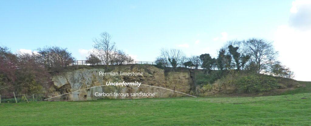 Fig 2 Permo-Carboniferous Unconformity. Newsome Bridge, Nr Wetherby